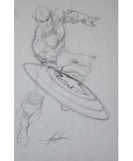 Captain America A3 crayonné signé!