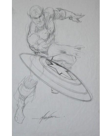 Captain America crayonné signé